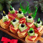 новогодние закуски канапе с ветчиной